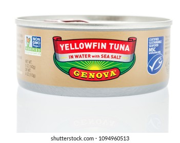 Winneconne, WI -  28 April 2018: A can of Yellowfin Tuna in water with sea salt by Genova on an isolated background.