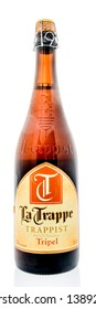 Winneconne, WI -  28 April 2019 : A bottle of Trappist La Trappe tripel Belgian beer with a cork on an isolated background