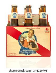 Winneconne, WI - 28 Nov 2015: Six pack of Pabst Blue Ribbon beer.