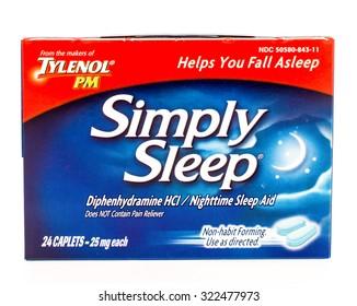 Winneconne, WI -28 Sept 2015:  Box of Simply sleep tablets. - Shutterstock ID 322477973