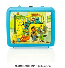Winneconne, WI - 29 March 2016:  Plastic lunch box from the 1980's featuring Sesame Street characters.  A popular show for kids to watch.