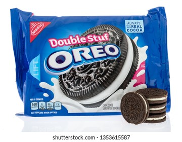 Winneconne, WI - 29 March 2019: A package of  Oreo Double stuff cookies with cookies on display on an isolated background