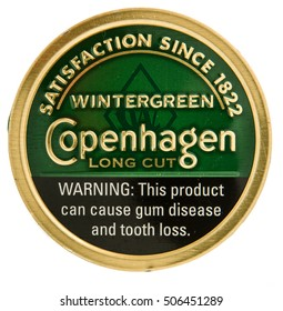 Winneconne, WI - 29 October 2016:  Can of Copenhagen chewing tobacco on an isolated background.
