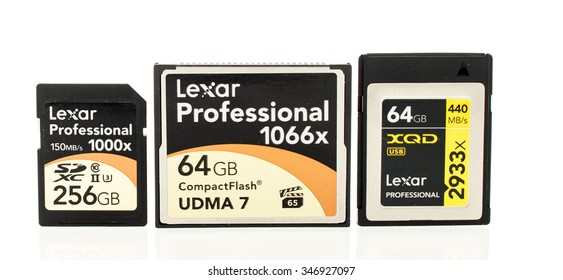 Winneconne, WI - 3 Dec 2015:  Lexar Professional series memory cards featuring SDXC, CompactFlash and XQD.