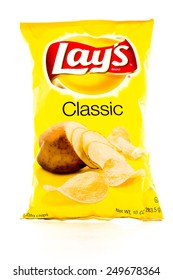 Winneconne, WI - 3 February 2015: Bag of 10 OZ Frito Lay Classic potato chips. Frito-Lay is the worlds largest distributed snack food.