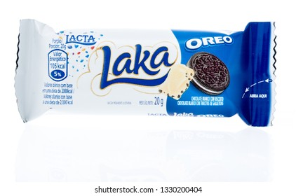 Winneconne, WI - 3 March 2019: A package of Lacta Laka Oreo bar on an isolated background