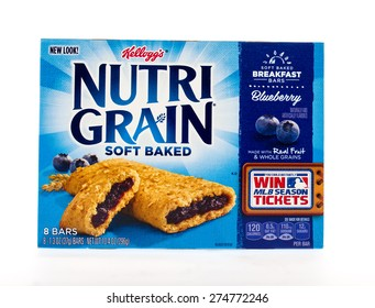 Winneconne, WI - 3 May 2015:  Box of Kellog's Nutri Grain soft baked in blueberry flavor.