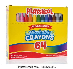 Winneconne, WI -  3 May 2019 : A package of Playskool washable crayons 64 on an isolated background