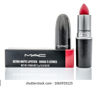 Winneconne, WI -  30 April 2018: A package of MAC lipstick on an isolated background.
