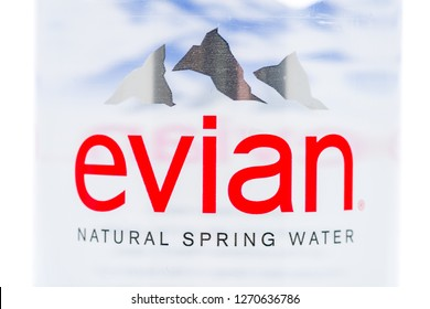 Winneconne, WI - 30 December 2018: A close up image of Evian water bottle on an isolated background.