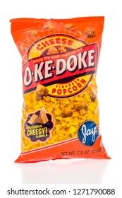 Winneconne, WI - 30 December 2018: A bag of O-ke-doke popcorn by Jays in cheese flavor on an isolated background.