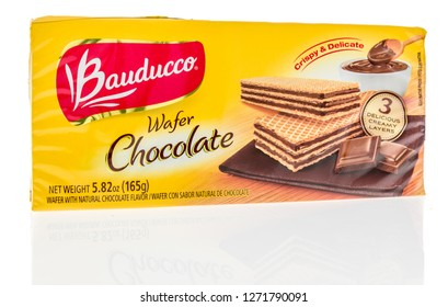 Winneconne, WI - 30 December 2018: A package of Bauducco chocolate wafer on an isolated background.