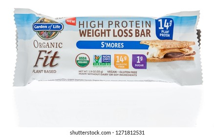 Winneconne, WI - 30 December 2018: A package  of Garden of life high protein weight loss bar on an isolated background.