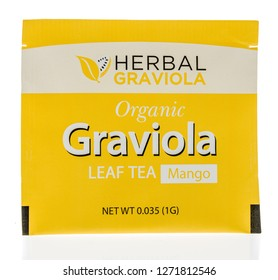 Winneconne, WI - 30 December 2018: A package  of Herbal graviola organic leaf tea on an isolated background.