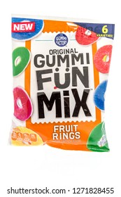 Winneconne, WI - 30 December 2018: A package of the gummi factory original gummi fun mix fruit rings on an isolated background.