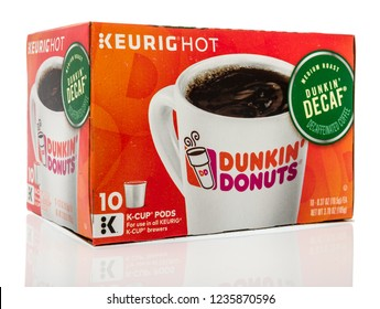 Winneconne, WI - 30 October 2018: A box of Keurig K-cup Dunkin' Donuts on an isolated background.
