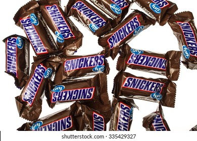 Winneconne, WI -4 Nov 2015:  Snickers fun size candy bars.