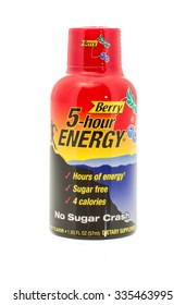 Winneconne, WI -4 Nov 2015:  Bottle of 5 hour energy in berry flavor.