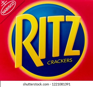 Winneconne, WI - 4 November 2018: A close up of Ritz crackers logo on an isolated background.