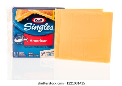 Winneconne, WI - 4 November 2018: A package of Kraft singles American cheese with cheese slices displayed on an isolated background.