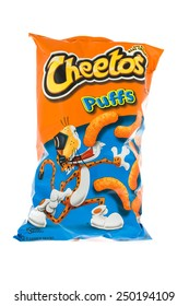 Winneconne, WI - 5  February 2015: Bag of Cheetos Puffs snacks a product of Frito.