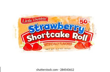Winneconne, WI - 5 June 2015:  Package of Little Debbie strawberry shortcake roll.