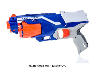Winneconne, WI -  5 May 2019 : A Nerf disruptor dart gun on an isolated background