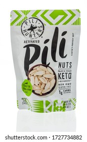 Winneconne,  WI - 5 May 2020:  A package of Pili hunters pili nuts on an isolated background