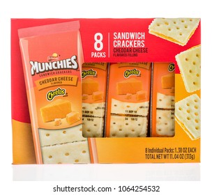 Winneconne, WI -  7 April 2018: A box of Munchies sandwich crackers in cheetos cheddar cheese flavor on an isolated background.