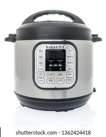 Winneconne, WI -  7 April 2019: An Instant Pot cooking appliance on an isolated background