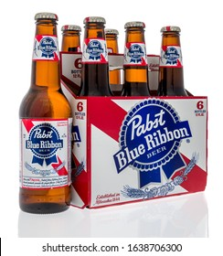 Winneconne,  WI - 7 February 2020:  A six pack of Pabst blue ribbon beer on an isolated background.