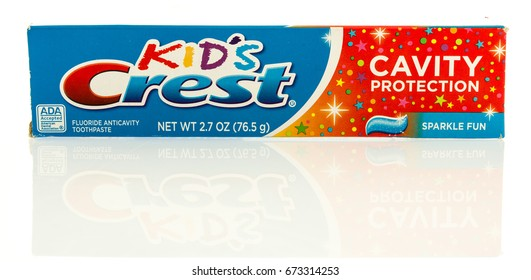 Winneconne, WI - 7 July 2017: A box of Kids Crest toothpaste on an isolated background.