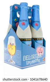 Winneconne, WI - 7 March 2018: A four pack of Delirium Tremens beer on an isolated background.