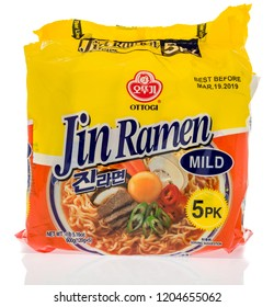 Winneconne, WI - 7 October 2018: A package of Ottogi Jin Ramen noodles on an isolated background