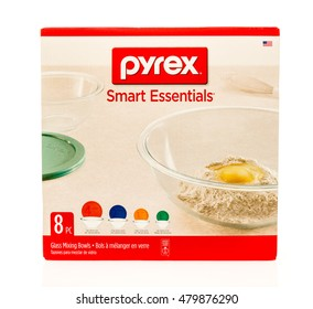 Winneconne, WI - 7 September 2016:  Box of Pyrex smart essentials glass mixing bowls on an isolated background.