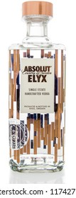 Winneconne, WI - 7 September 2018: A bottle of Absolut ELYX single estate handcrafted vodka from Sweden on an isolated background