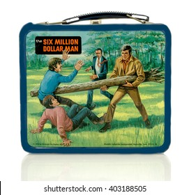 Winneconne, WI - 8 April 2016:  Lunch box featuring the six million dollar man on an isolated background.