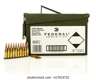 Winneconne, WI - 8 April 2017: An ammo can of  Federal ammunition with bullets on an isolated background.