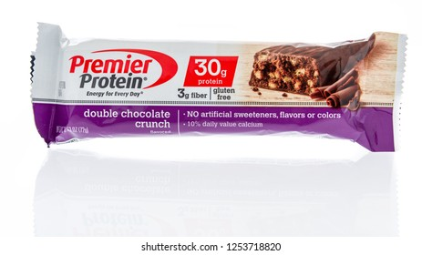 Winneconne, WI - 8 December 2018: A package of Premier protein bar in double chocolate crunch flavor on an isolated background.