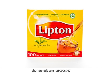 Winneconne, WI - 8 February 2015:  Box of 100 Lipton Tea bag, serve either hot or cold.