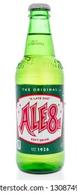 Winneconne, WI - 8 February 2019: A bottle of Ale81 or ale-8-one soft drink on an isolated background