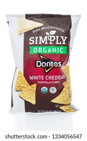 Winneconne, WI - 8 March 2019: A package of Doritos simply organic white cheddar tortilla chips on an isolated background