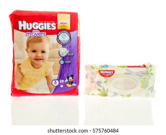 Winneconne, WI -9 February 2017: Huggies little movers diapers with wipes on an isolated background.