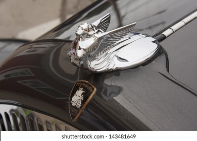 WINNECONNE, WI - JUNE 1:  Hood Ornament of a 1931 black Chrysler Plymouth Car at Annual Car Show on Main Street June 1, 2013 in Winneconne, Wisconsin.