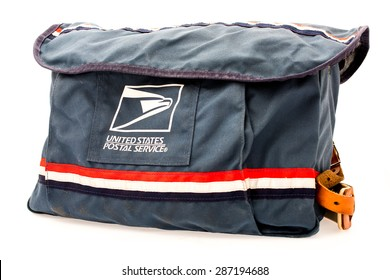 Winneconni, WI - 14 June 2015: An image of the USPS satchel that mail carriers use.