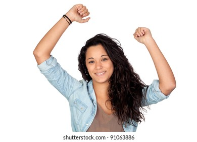 Winner attractive woman isolated on a over white background