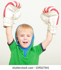 Winner boy with boxing gloves with American symbols
