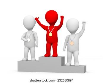 Winner celebrating on podium. 3d rendered illustration.
