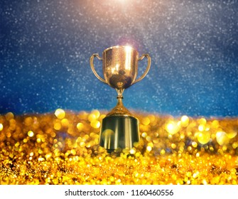 winner cup with abstract background.