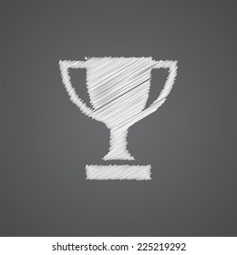 winner cup sketch logo doodle icon isolated on dark background